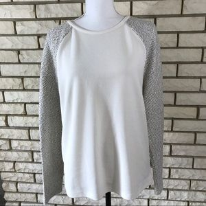 NWT Loft Top White Knit Textured Sleeve Blouse